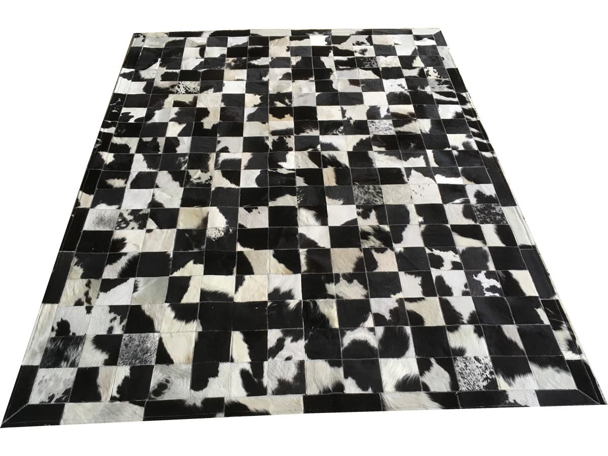 Tapete De Couro Preto E Branco Malhado 1,50x2,00 C/borda