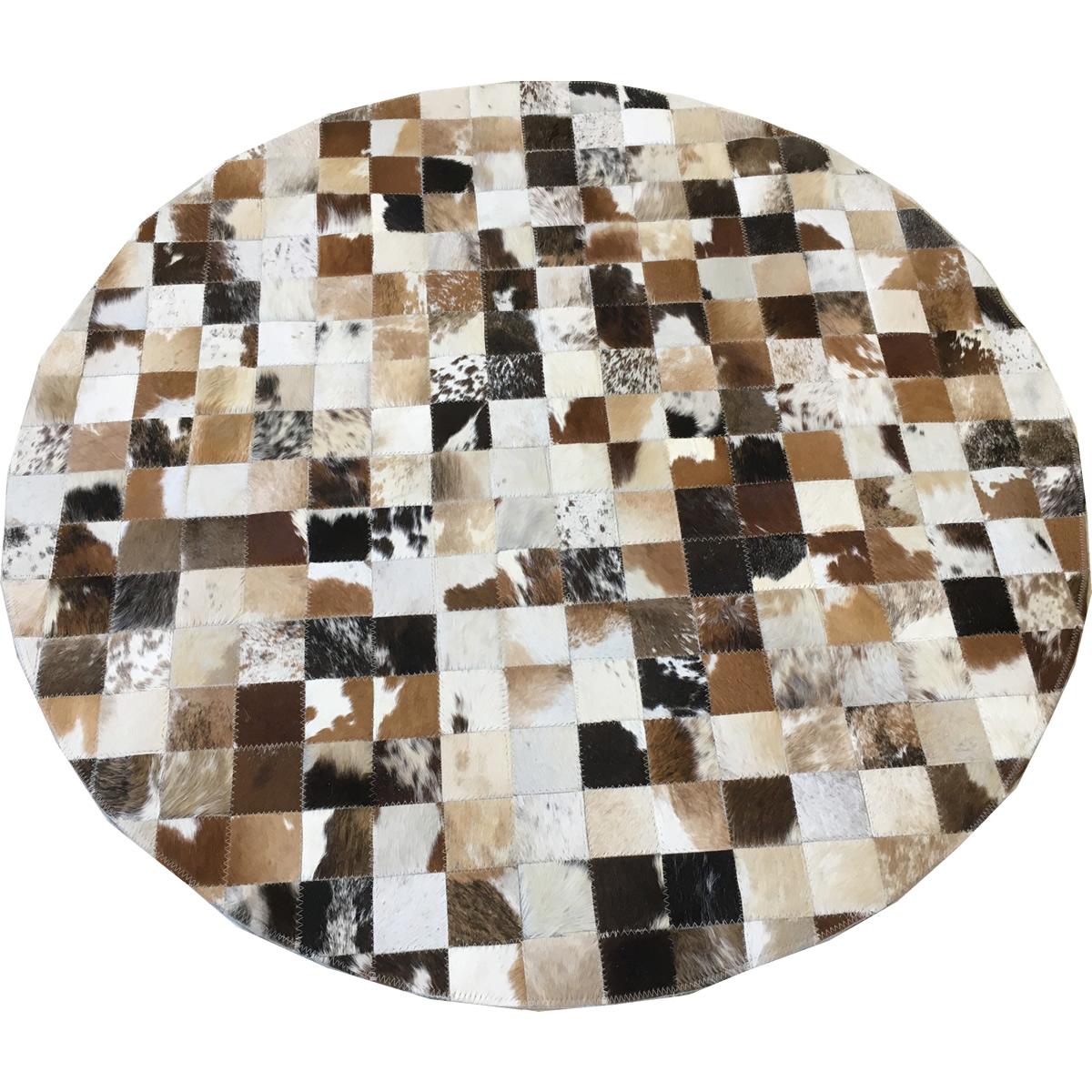 Tapete de couro marrom malhado 1,20 diâmetro sem bordas