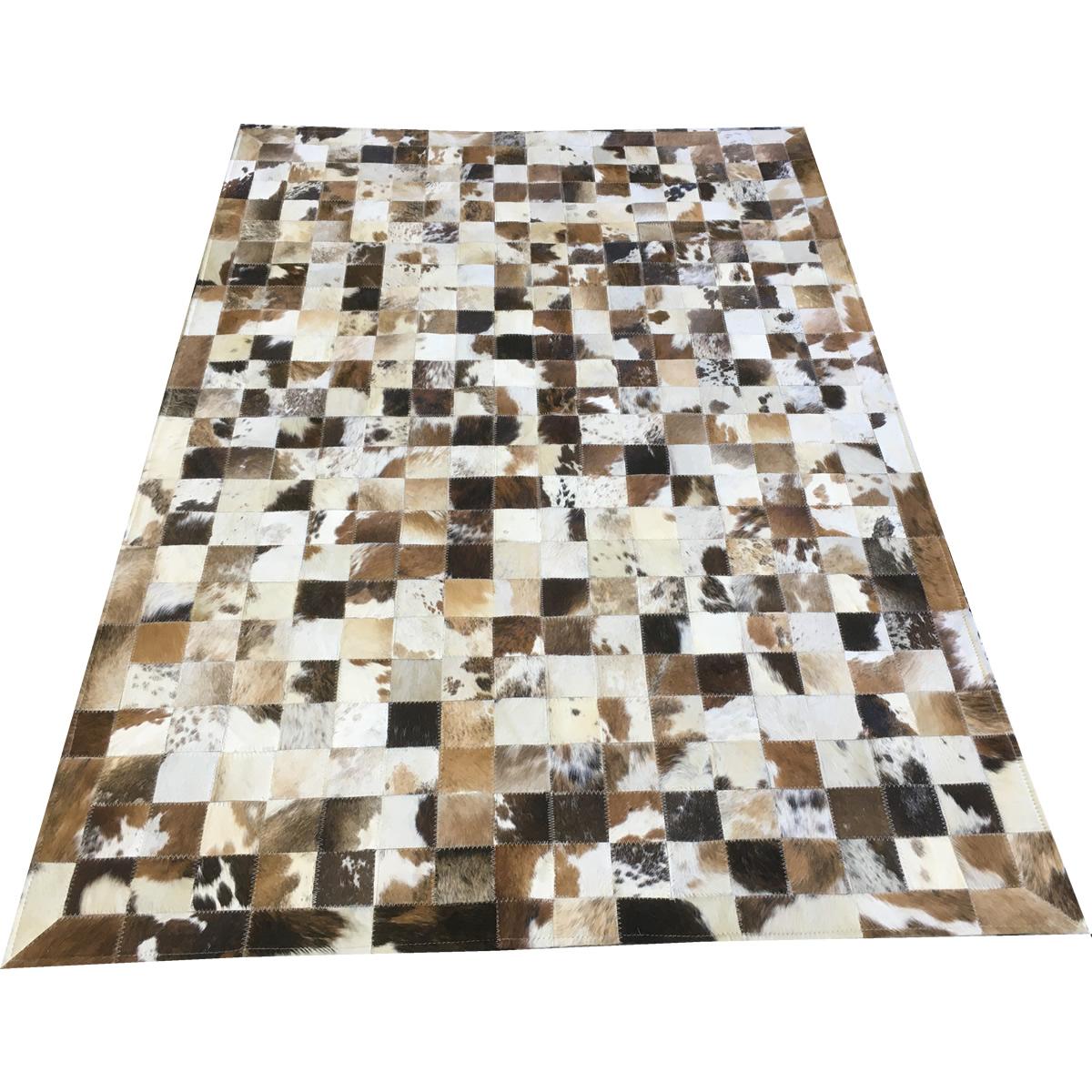 Tapete de couro marrom malhado escuro 1,20x1,80 com bordas