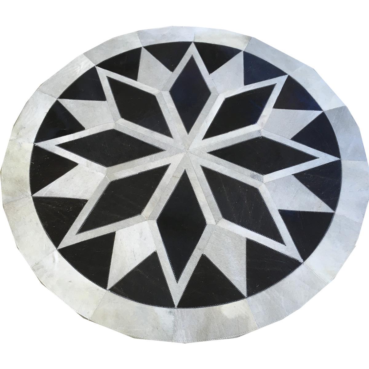Tapete de couro redondo branco e preto 1,20 diâmetro