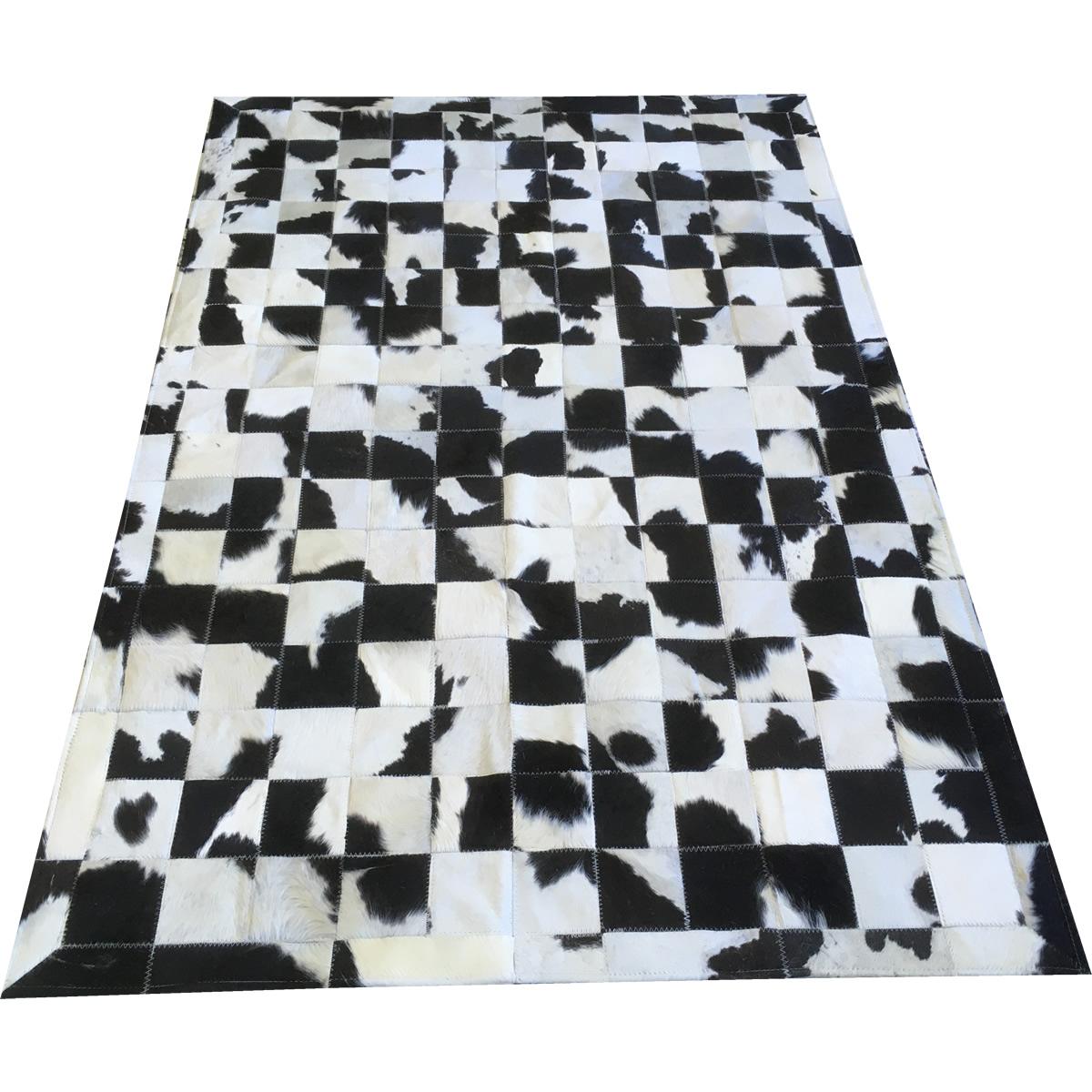 Tapete de couro preto branco malhado 1,20x1,80 c/b peça 10