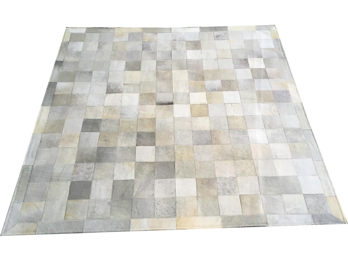 Tapete de couro cinza griss 1,50x1,50 com borda peça 10x10cm