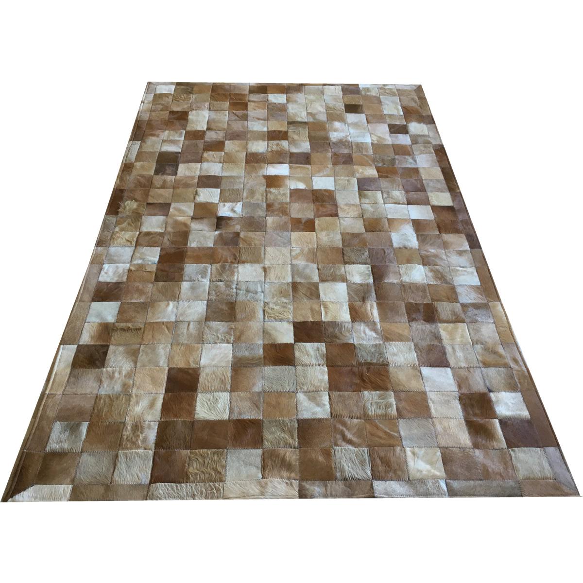 Tapete de couro bege 1,50x2,50 com borda peça 10x10cm
