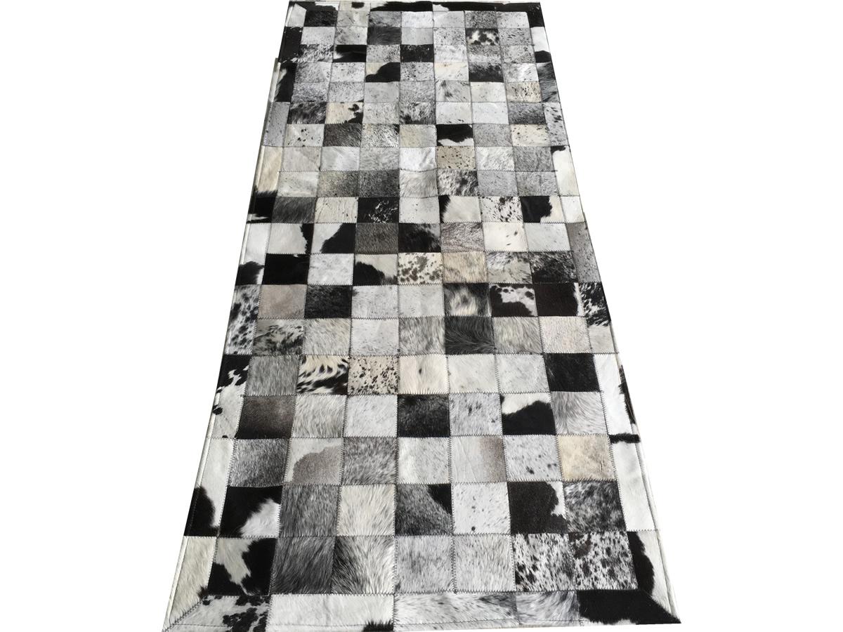 Tapete de couro preto branco salino 0,80x2,00 c/b peça 10cm