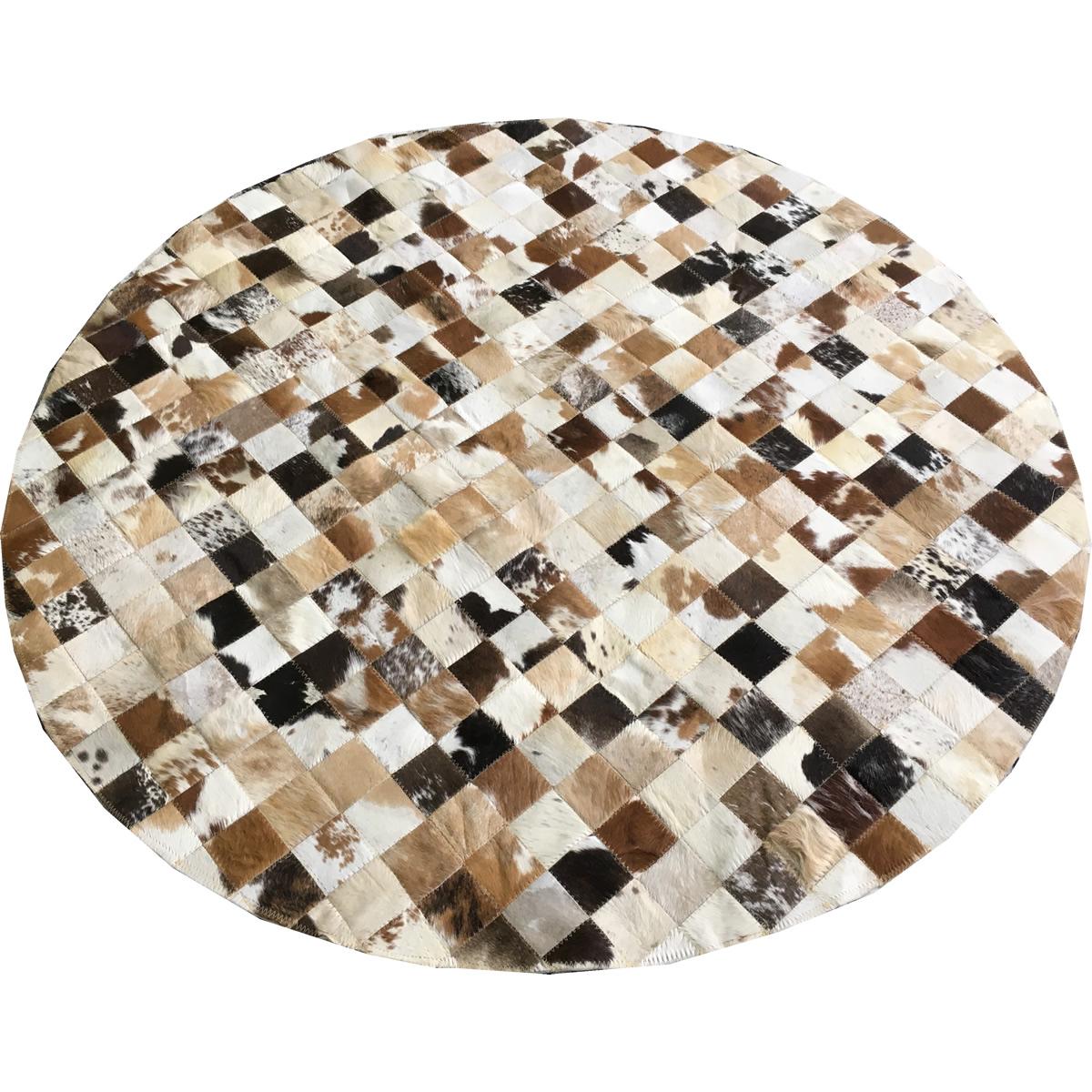 Tapete de couro redondo marrom malhado 1,50 diâmetro s/b