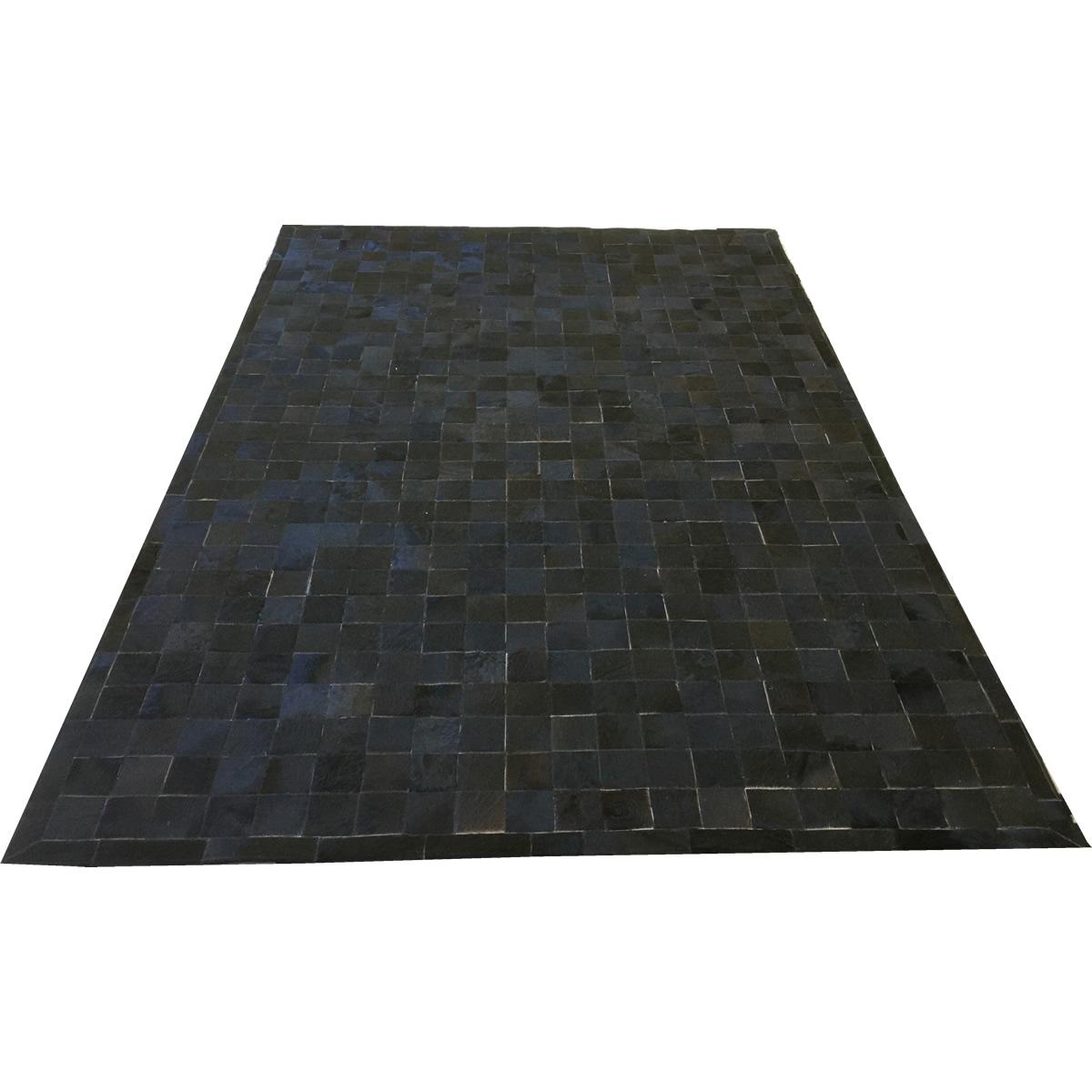 Tapete de couro preto café 2,00x3,00 com borda peça 10x10cm