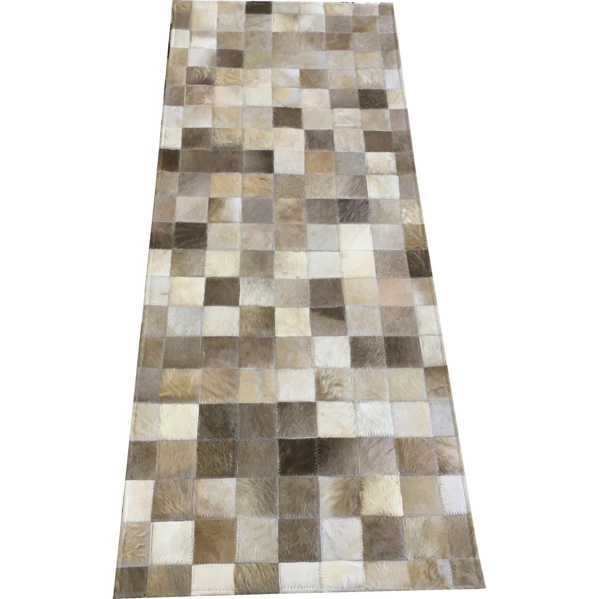 Tapete de couro passadeira cinza natural 0,60x1,50 sem borda