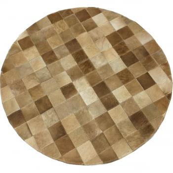 Tapete de couro redondo bege 0,80 diâmetro sem bordas