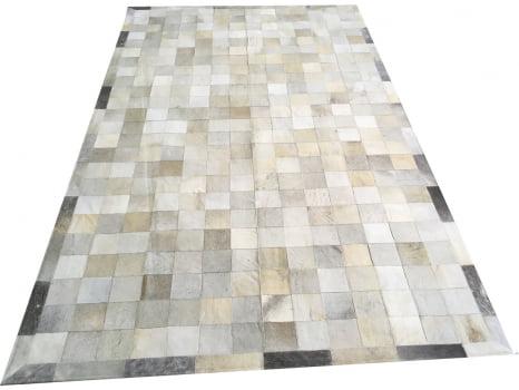 Tapete de couro cinza griss 1,50x2,50 com borda peça 10x10cm