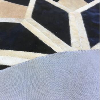 Tapete de couro redondo bege claro e preto 1,20 diâmetro