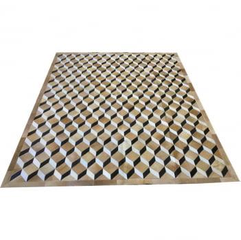 Tapete de couro 3d bege 2,00x2,50 com bordas