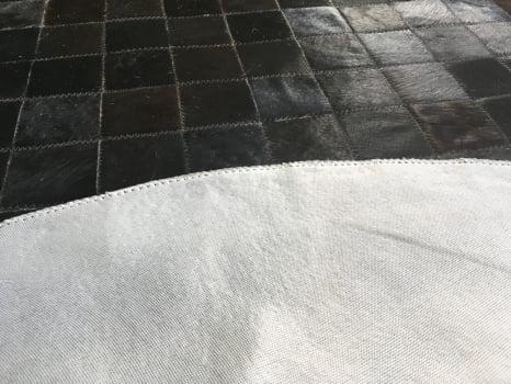 Tapete De Couro Redondo Preto Natural 1,50 Diâmetro