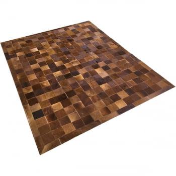 Tapete de couro castanho 1,50x2,00 com borda peça 10x10cm