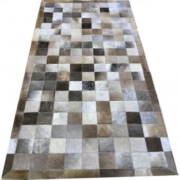 Tapete de couro cinza griss 1,00x2,00 com borda peça 10x10cm