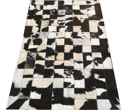 Tapete De Couro Preto Branco Malhado 1,00x1,50 Peça 10x10cm