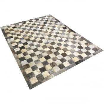 Tapete de couro tabuleiro cinza bege 1,50x2,00 c/b peça 10