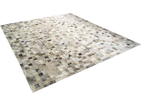 Tapete De Couro Preto Branco Salino 2,50x3,00 Com Bordas