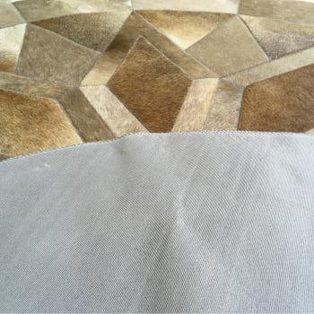 Tapete de couro redondo cinza natural 1,60 diâmetro