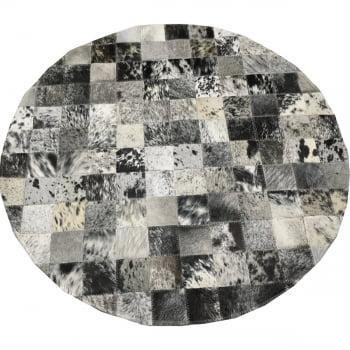 Tapete de couro redondo preto branco salino 0,80 diâmetro sb