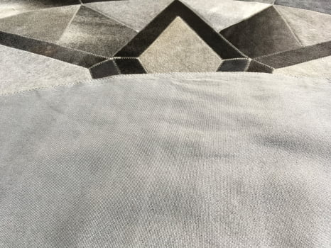 Tapete de couro redondo cinza escuro 1,60 diâmetro