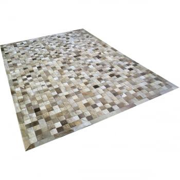 Tapete de couro cinza natural malhado 2,00x3,00 com bordas