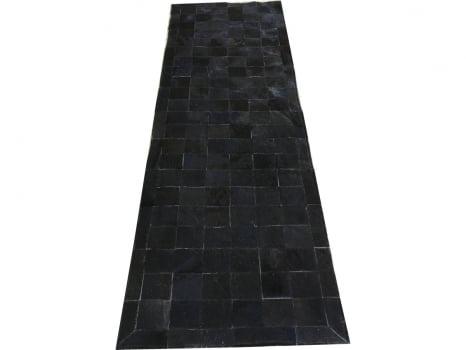 Tapete de couro passadeira preto natural 0,70x2,30 c/b pç 10