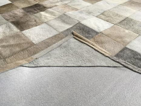 Tapete de couro cinza griss bege 1,20x1,80 com bordas
