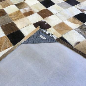 Tapete de couro marrom misto 2,00x3,00 com borda peça 10x10