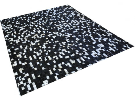 Promoção! Tapete de couro preto branco misto 2,00x2,50 s/b