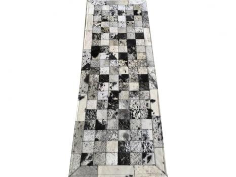 Tapete De Couro Passadeira Preto Branco Salino 0,50x1,50 C/b