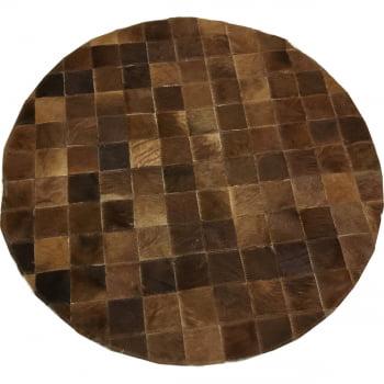 Tapete de couro redondo castanho 0,80 diâmetro sem bordas