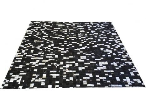 Promoção! Tapete de couro preto branco misto 2,00x2,00 s/b