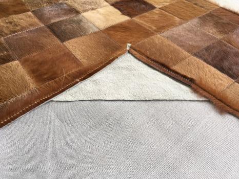 Tapete de couro castanho 1,00x2,00 com bordas