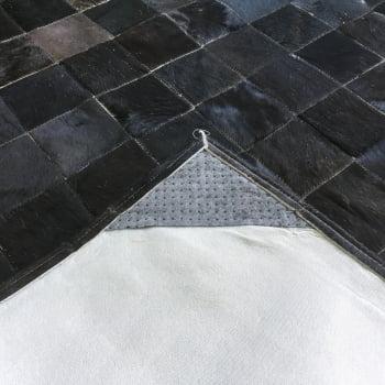 Tapete de couro preto natural 1,20x1,80 com borda pç 10x10cm