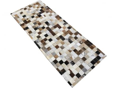 Tapete de couro passadeira marrom misto 0,60x1,50 sem bordas