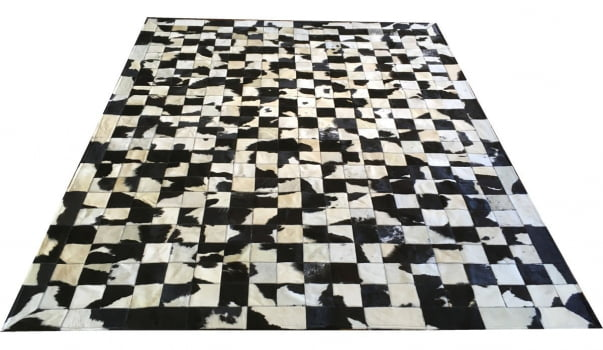 Tapete De Couro Preto Branco Malhado 2,00x2,50 C/b Peça 10