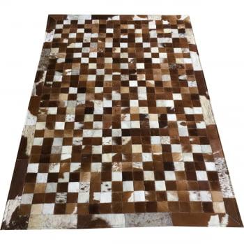 Promoção! Tapete de couro marrom branco 1,00x1,50 com bordas