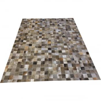 Tapete de couro cinza natural escuro 1,50x2,00 sem bordas