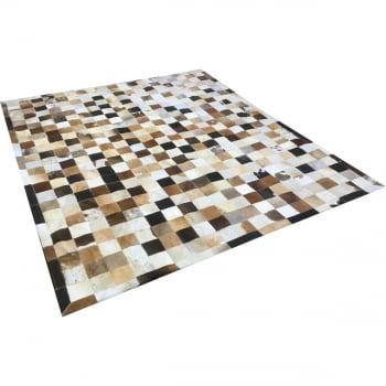 Tapete de couro marrom misto 2,00x2,50 com bordas pç 10x10cm
