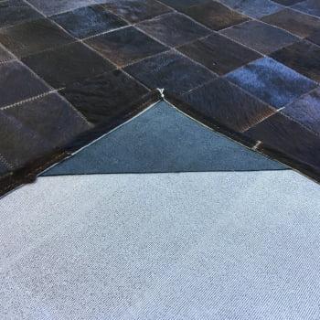 Tapete De Couro Preto Com Listra Branca 2,00x2,50 Com Bordas