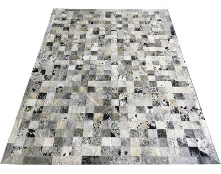 Tapete De Couro Preto Branco Salino 1,50x2,00 Com Bordas