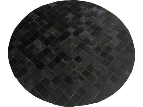 Tapete de couro redondo preto café 1,20 diâmetro