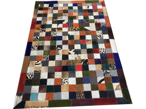 Tapete De Couro Colorido 1,00x1,50 Com Borda Peça De 7x7cm