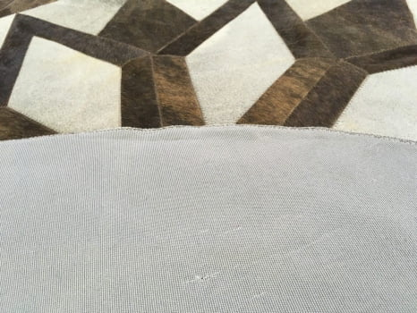 Tapete De Couro Redondo Marrom Exótico E Cinza 1,60 Diâmetro