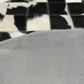 Tapete de couro redondo preto branco malhado 0,80 diâmetro