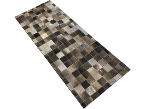 Tapete de couro passadeira cinza rato 0,60x1,50 sem bordas