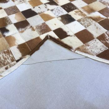 Tapete de couro castanho malhado 1,50x2,00 com bordas