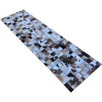 Tapete de couro passadeira marrom malhado 0,60x2,00 s/b