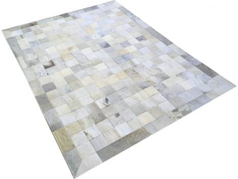 Tapete De Couro Cinza Griss 1,50x2,00 Com Borda Peça 10x10cm