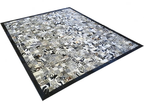 Tapete de couro bege claro estampado 2,00x2,50 com bordas